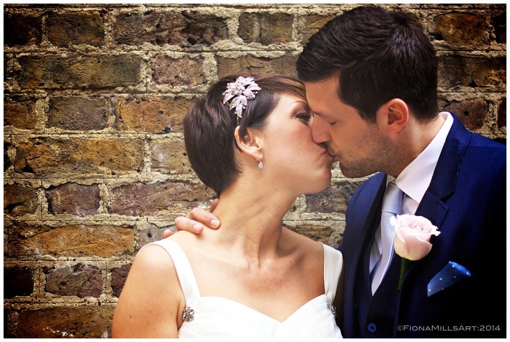wedding photography London, kiss portrait,