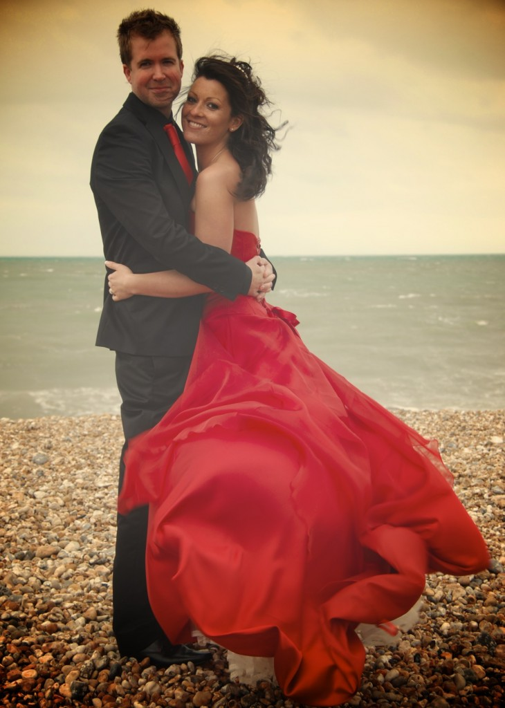 Bognor Regis wedding day, red wedding dress, black suit, bride and groom