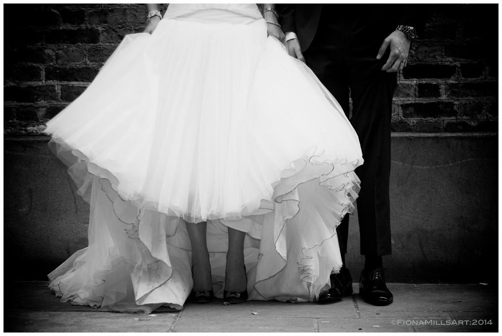 wedding dress, Manolo Blahnik heels, blue shoes, london wedding photography